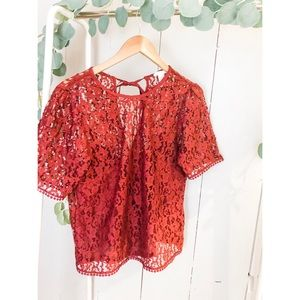 H&M Maroon Lace Top Size 10